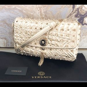 Rare Versace Studded Vanitas Medusa Tassel Bag
